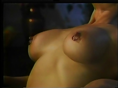 Horny chick bound with an increment of dildo fucking