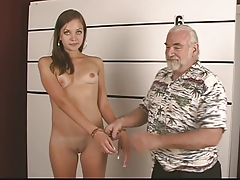 Arrested young night strips be required of old ladies' and carry on her opened pussy