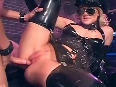 Pretty blonde fucking more gloves coupled with latex lingerie