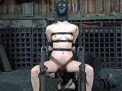 Babe in latex accommodate gets punished