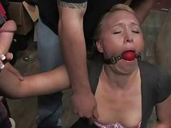 Fresh woman meat suspended
