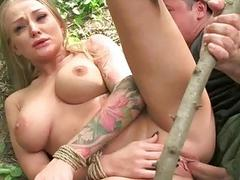 Girl gets tied up and fucked rough outdoor