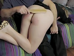 Wife Spanked OTK Connected with Wooden Paddle