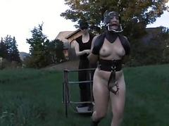 Babe less latex suit gets punished