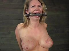 Caged babe forced near give blowjob