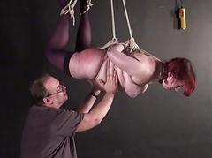 Suspension bondage and needle bdsm of fat slave