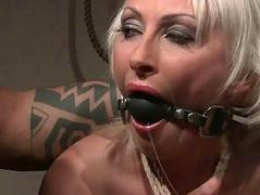 Grown up blonde gets punished together with anal fucked