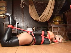 Petra Morgan Hogtied & Ball Gagged