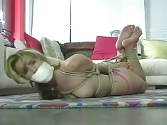 Very Dispirited Blonde Wants in all directions Succeed in Hogtied and Gagged