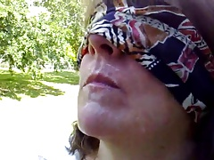 Blindfolded BJ off out of one's mind ABBEY in the park