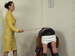 Caning in rubber pantalettes