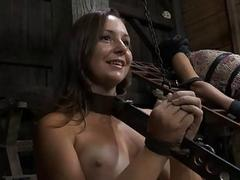 Delimited girl waits for her brutal punishment
