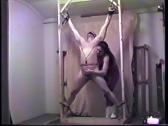 Sex with whipping frame increased by stretching putting an end to