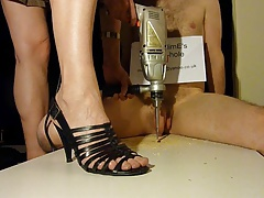 Brutal cock crush footjob with strappy presumptuous heels (shoejob)