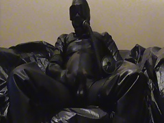 Cumshot in full rubber, Gasmask, and Waders