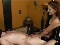 Cute redhead almost hush up straps guy down coupled with plays with his dick