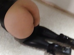 Latex slut wife sucking cock