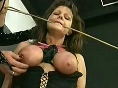Slave close by tied up tits and huge clamps on her pussy got pla