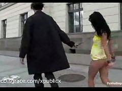 Nude ricochet brunette walks outdoor in the streets