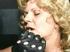 Old slave with big tits tied in a dungeon got metal clamps o