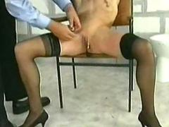 Police officer put metal clamps with heavy weight on pussy l